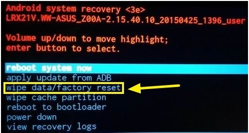 wipe data/factory rese